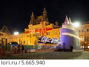 Купить «ГУМ-каток на Красной площади вечером, Москва», фото № 5665940, снято 19 февраля 2014 г. (c) Юлия Кузнецова / Фотобанк Лори