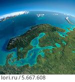 Купить «Вид на Землю из космоса. Европа. Скандинавия», иллюстрация № 5667608 (c) Антон Балаж / Фотобанк Лори