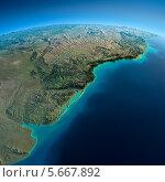Купить «Объёмная карта земного шара, Южная Америка, Рио-де-ла-Плата», иллюстрация № 5667892 (c) Антон Балаж / Фотобанк Лори