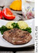 Купить «Жареная говядина с картофелем», фото № 5675456, снято 26 марта 2019 г. (c) BE&W Photo / Фотобанк Лори
