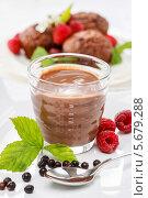 Купить «Шоколадный десерт в прозрачном стакане», фото № 5679288, снято 17 октября 2018 г. (c) BE&W Photo / Фотобанк Лори