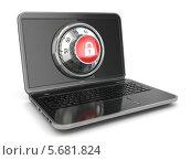 Купить «Секретность в интернете. Ноутбук с замком сейфа на экране», иллюстрация № 5681824 (c) Maksym Yemelyanov / Фотобанк Лори