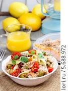 Купить «Белая тарелка салата с копченым лососем», фото № 5688972, снято 23 октября 2018 г. (c) BE&W Photo / Фотобанк Лори