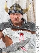 Купить «Мускулистый мужчина в костюме викинга с мечом и головой дракона», фото № 5692424, снято 3 октября 2013 г. (c) Losevsky Pavel / Фотобанк Лори