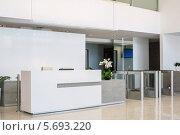 Купить «Стойка регистрации в современном стиле в бизнес-центре», фото № 5693220, снято 30 мая 2013 г. (c) Losevsky Pavel / Фотобанк Лори