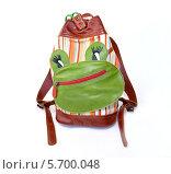 Купить «Детский рюкзак с аппликацией», фото № 5700048, снято 13 марта 2014 г. (c) Ирина Борсученко / Фотобанк Лори