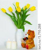 Натюрморт цветы и мягкая игрушка. Стоковое фото, фотограф Виктор Шушурин / Фотобанк Лори