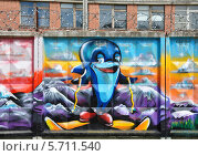 Купить «Граффити дельфин на лыжах», фото № 5711540, снято 21 июня 2013 г. (c) Голованов Сергей / Фотобанк Лори