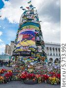 Купить «Цветы в память о жертвах конфликта в Киеве, Украина», фото № 5713992, снято 16 марта 2014 г. (c) Алексей Сергеев / Фотобанк Лори