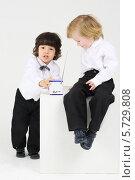 Два мальчика в нарядных костюмах с игрушкой сидят на сером фоне, фото № 5729808, снято 30 марта 2013 г. (c) Losevsky Pavel / Фотобанк Лори