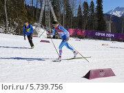 Купить «Зимние Олимпийские игры 2014 года в Сочи. Лыжная гонка на 10 км классическим стилем у женщин. Анна Киллонен (Финляндия)», эксклюзивное фото № 5739756, снято 13 февраля 2014 г. (c) Алексей Гусев / Фотобанк Лори