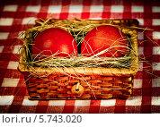 Красные пасхальные яйца  в корзине. Стоковое фото, фотограф ElenArt / Фотобанк Лори