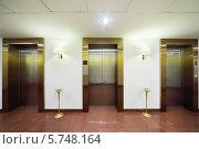 Купить «Металлические двери лифтов, мраморный пол и пепельницы в большой стильном отеле», фото № 5748164, снято 25 января 2013 г. (c) Losevsky Pavel / Фотобанк Лори