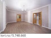 Купить «Просторная светлая комната с деревянным полом и открытой дверью в новой квартире», фото № 5748660, снято 2 декабря 2012 г. (c) Losevsky Pavel / Фотобанк Лори