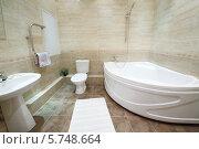 Купить «Интерьер светлой ванной комнаты с ванной, унитазом и белым ковром», фото № 5748664, снято 2 декабря 2012 г. (c) Losevsky Pavel / Фотобанк Лори