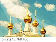 Купола православного храма на фоне неба. Имитация масляной живописи. Стоковое фото, фотограф Anhelina Tarasenko / Фотобанк Лори