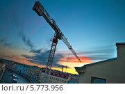 Купить «Строительный башенный подъемный кран на фоне заката, река Мойка, Санкт-Петербург», фото № 5773956, снято 15 июля 2020 г. (c) Смелов Иван / Фотобанк Лори