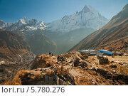 Купить «Базовый лагерь Аннапурна, Гималаи», фото № 5780276, снято 8 октября 2012 г. (c) Юлия Бабкина / Фотобанк Лори