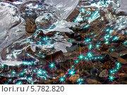 Купить «Каменистое дно ручья с искрящейся водой и льдинкой», эксклюзивное фото № 5782820, снято 6 апреля 2014 г. (c) Евгений Мухортов / Фотобанк Лори