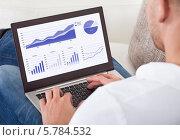Купить «мужчина смотрит графики на экране ноутбука», фото № 5784532, снято 25 января 2014 г. (c) Андрей Попов / Фотобанк Лори