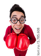 Купить «Смешной очкарик-боксер с глупым выражением лица», фото № 5785608, снято 27 февраля 2014 г. (c) Elnur / Фотобанк Лори
