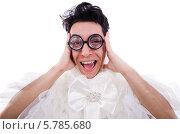 Купить «Смешной мужчина в женском платье и очках», фото № 5785680, снято 9 апреля 2013 г. (c) Elnur / Фотобанк Лори