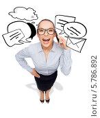Купить «Привлекательная девушка в очках разговаривает с кем-то по мобильному телефону. Вид сверху», фото № 5786892, снято 8 декабря 2013 г. (c) Syda Productions / Фотобанк Лори