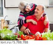 Купить «Счастливые муж и жена на кухне за готовкой», фото № 5788788, снято 25 мая 2018 г. (c) Яков Филимонов / Фотобанк Лори