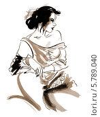 Купить «Портрет женщины. Акварельный рисунок. Сепия», иллюстрация № 5789040 (c) Irina Ustinova / Фотобанк Лори