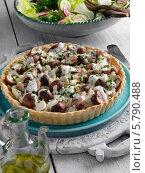 Купить «открытый пирог с грибами, луком и сыром фета», фото № 5790488, снято 18 июля 2018 г. (c) Food And Drink Photos / Фотобанк Лори