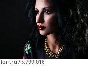 Портрет брюнетки с красными губами. Стоковое фото, фотограф Евгения Семенова / Фотобанк Лори