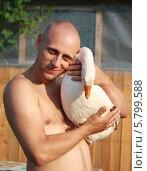 Купить «Мужчина держит гуся», эксклюзивное фото № 5799588, снято 17 июля 2012 г. (c) Вероника / Фотобанк Лори