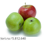 Три спелых яблока на белом фоне. Стоковое фото, фотограф Николай Тоцкий / Фотобанк Лори