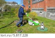 Купить «Мужчина стрижет траву газонокосилкой на участке около дома», фото № 5817228, снято 16 апреля 2014 г. (c) Ирина Борсученко / Фотобанк Лори