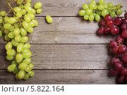 Кисти винограда на деревянном фоне. Стоковое фото, фотограф Майя Крученкова / Фотобанк Лори