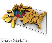 Купить «Пазл в форме карты США», иллюстрация № 5824748 (c) Maksym Yemelyanov / Фотобанк Лори