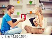 Купить «Молодой муж дарит жене подарок в домашней обстановке», фото № 5830564, снято 14 декабря 2018 г. (c) Syda Productions / Фотобанк Лори