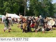 Купить «Страшная битва викингов. Ярмарка викингов на Аландских островах, Финляндия - одна из крупнейших в Скандинавии», фото № 5837732, снято 25 июля 2013 г. (c) Валерия Попова / Фотобанк Лори