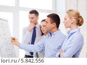 Купить «Бизнес-команда в современном офисе. Обсуждение новой концепции развития организации», фото № 5842556, снято 5 апреля 2014 г. (c) Syda Productions / Фотобанк Лори