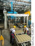 Купить «Рабочие около конвейера на кирпичном заводе», фото № 5857260, снято 13 апреля 2014 г. (c) Andrejs Pidjass / Фотобанк Лори