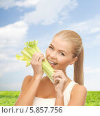 Купить «Молодая женщина с наслаждением кусает стебель сельдерея», фото № 5857756, снято 23 марта 2013 г. (c) Syda Productions / Фотобанк Лори