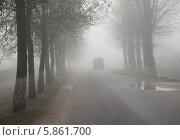 Купить «Густая пелена тумана поздней осенью», фото № 5861700, снято 11 ноября 2013 г. (c) Ольга Коцюба / Фотобанк Лори