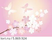 Цветущая ветвь абрикоса. Стоковая иллюстрация, иллюстратор Валентина Шибеко / Фотобанк Лори