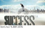 Купить «Businessman walking across tightrope with success text», видеоролик № 5881876, снято 4 июля 2020 г. (c) Wavebreak Media / Фотобанк Лори