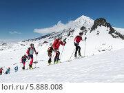 Купить «Группа ски-альпинистов поднимается на вулкан. Соревнования по ски-альпинизму, индивидуальная гонка», фото № 5888008, снято 26 апреля 2014 г. (c) А. А. Пирагис / Фотобанк Лори