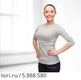 Купить «Стройная девушка с милой улыбкой стоит в комнате, положив руки на талию», фото № 5888580, снято 8 декабря 2013 г. (c) Syda Productions / Фотобанк Лори