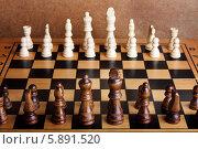 Купить «Деревянные шахматы на доске», фото № 5891520, снято 4 мая 2014 г. (c) Lora Liu / Фотобанк Лори