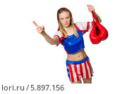 Купить «Женщина в форме боксера держит красные перчатки и показывает пальцем в сторону», фото № 5897156, снято 13 апреля 2014 г. (c) Elnur / Фотобанк Лори