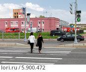 Купить «Переход проезжей части по зеленому сигналу светофора», фото № 5900472, снято 14 ноября 2019 г. (c) Vladimir Sviridenko / Фотобанк Лори