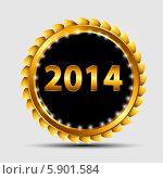 Купить «Золотая надпись 2014 на черно-золотой эмблеме», иллюстрация № 5901584 (c) Юлия Гапеенко / Фотобанк Лори